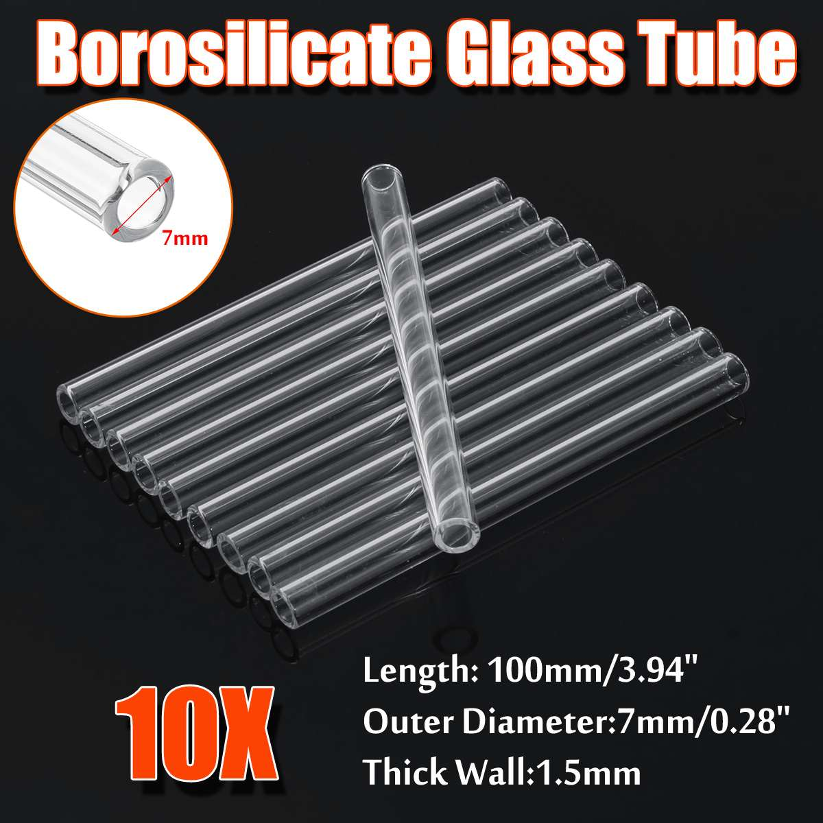 10Pcs Wholesale 100x8x1.5mm Thick Transparent Wall Borosilicate Glass Blowing Tube Mixer Rod For School Lab Chemical Experiment