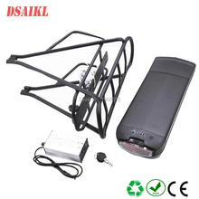 250W ebike rear rack battery pack 24V 12Ah 14Ah 15Ah 17Ah 20Ah with electric bicycle luggage rack