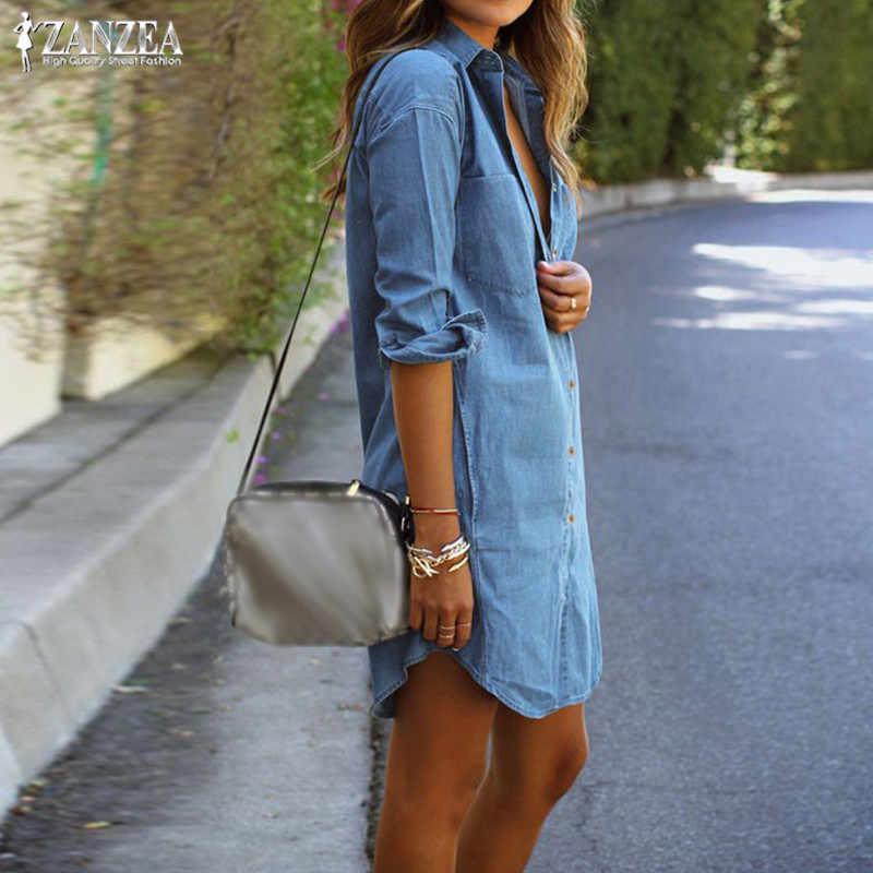a84df48c963 ... Plus Size Denim Dress Women Sundress ZANZEA 2019 Casual Jeans Shirt Dresses  Female Button Long Sleeve ...