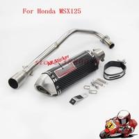 Motorcycle Exhaust Muffler Motor Modified Front Link Pipe With Akrapovic Laser Marking DB Killer Slip On For HONDA MSX125