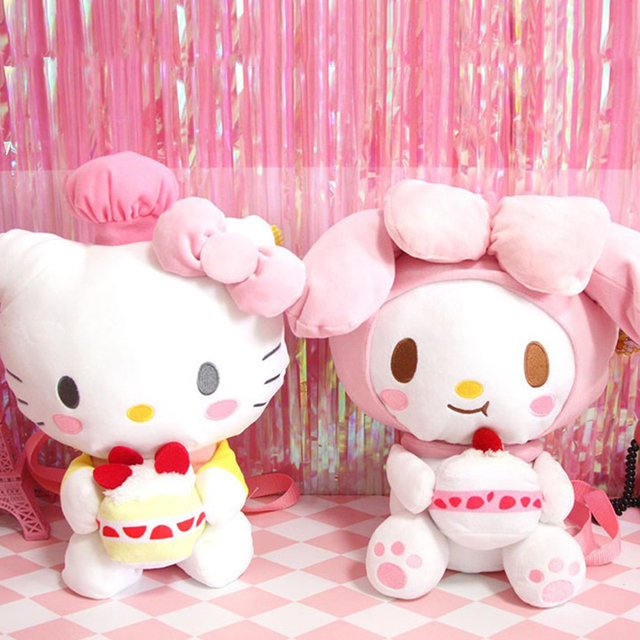1 Pc Lovely Hello Kitty My Melody With Birthday Cake Plush Backpack Cartoon Animal Stuffed Doll Toy Bag For Kids Gift