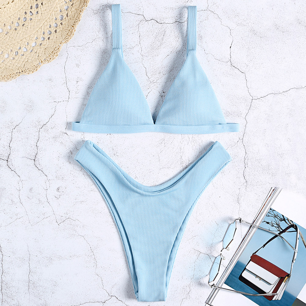 High Waist Padded Bikini Light Blue Women Swimsuit Adjustable Straps Removable Padding Support Bikini Set