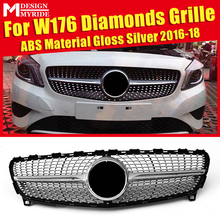 W176 Grille Diamonds ABS Material silver Without Sign Front Bumper Kidney Grills Fits For A180 A200 A250 Mesh 2016-18