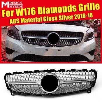 W176 Grille Diamants ABS Matériel Argent Sans Signe Avant Pare-chocs Rein Grilles Convient Pour W176 A180 A200 A250 Avant Maille 2016-18