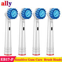4X EB17 Sensitive Gum Care Electric toothbrush heads Replacement For Braun Oral B D18 D19 D100 D32 D36 D25 Electric toothbrush