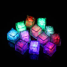 12 pcs Flameless Ice Cube Shaped Glowing Led Light Submersible Lamp Candle for party for Home Display Photography Props Kitchen