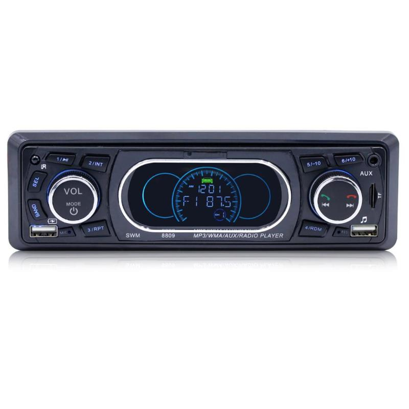 SWM 8809 1 Din In dash Car Stereo MP3 Player 12V LCD FM Radio Bluetooth RCA AUX Dual USB With 21 Key Remote Control Auto Radio