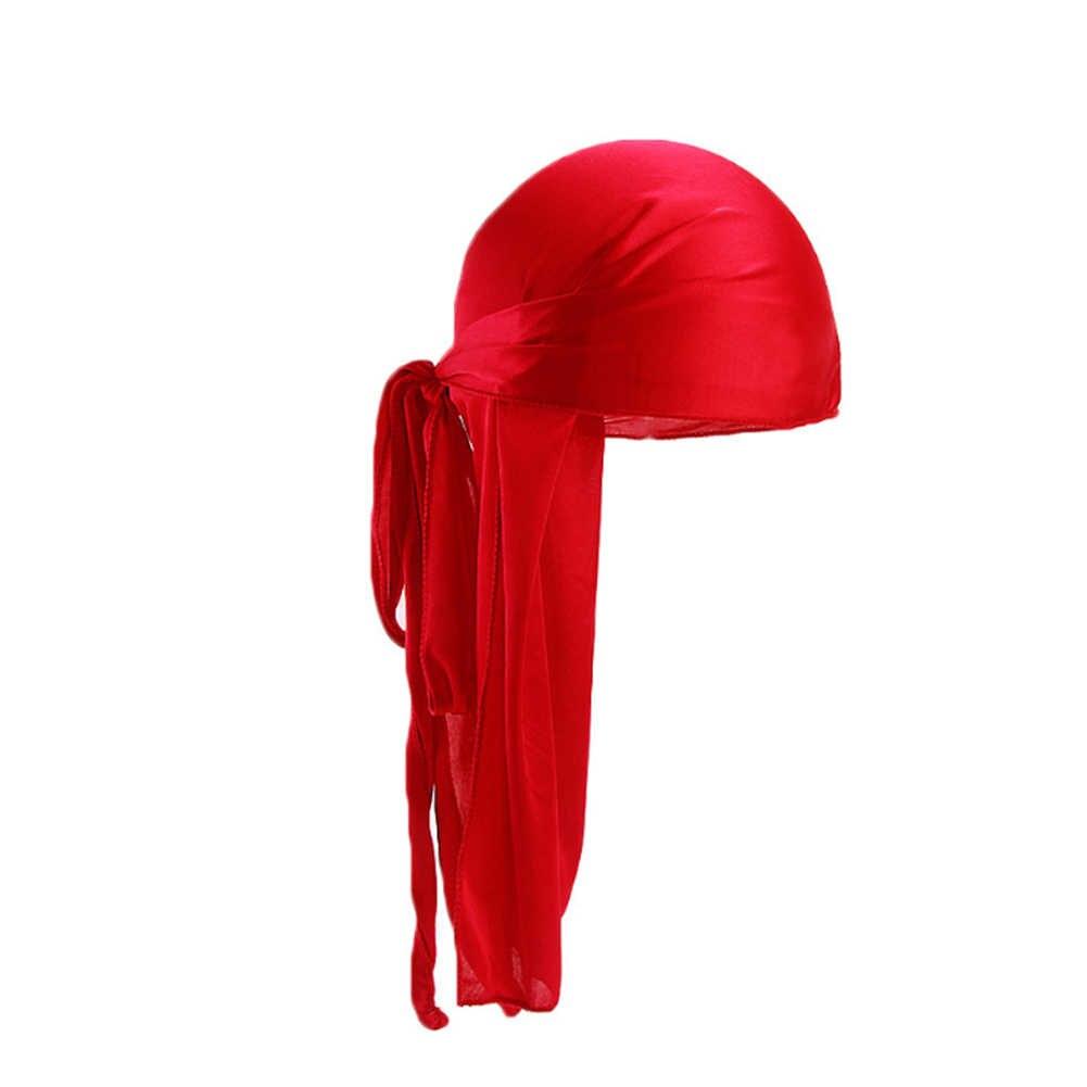 2019 новые унисекс длинные шелковые атласные дышащие тюрбан шляпы парики Doo дюраг Байкер головной убор Кепка chemo пиратская шляпа Мужские аксессуары для волос