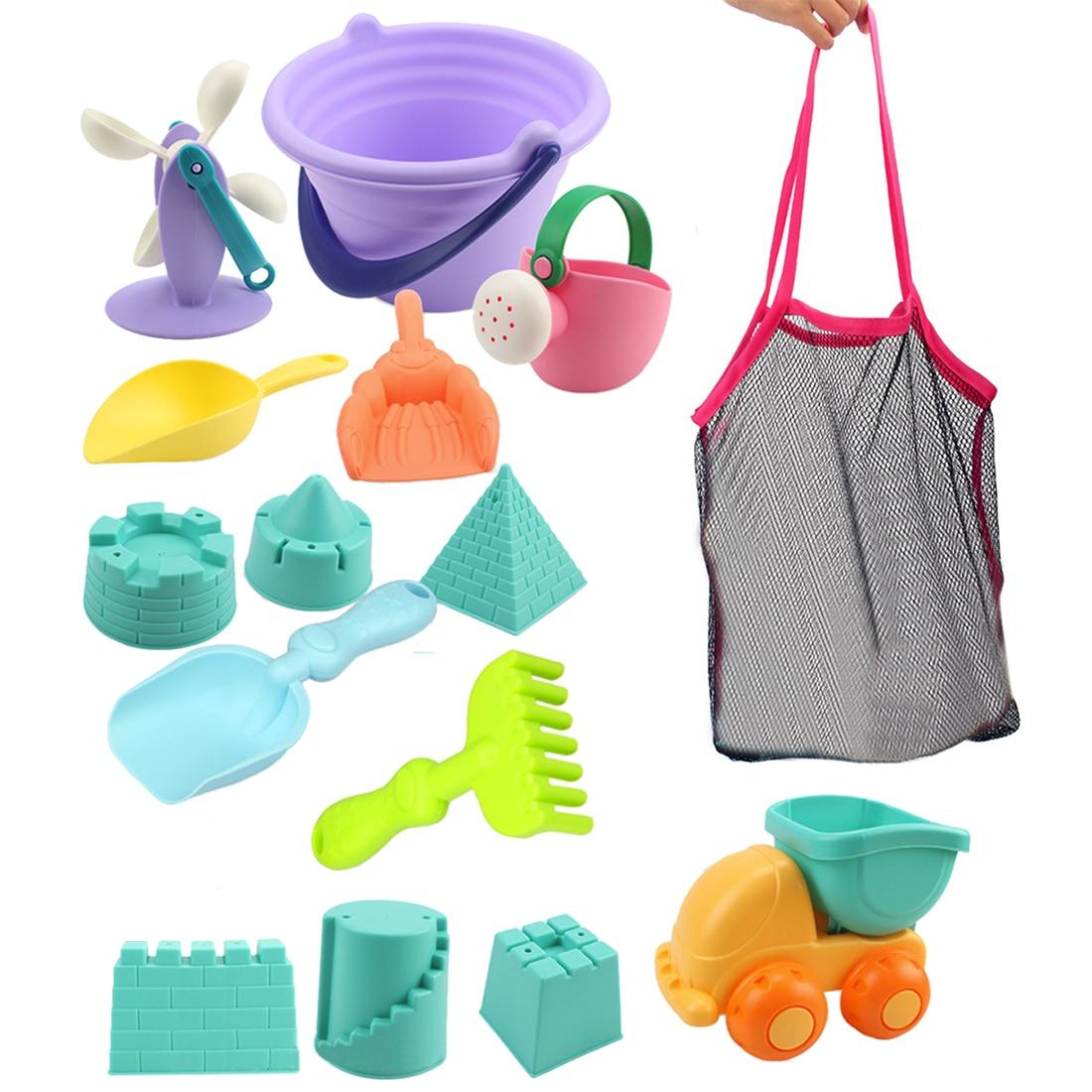 15Pcs Outdoor Beach Sand Toys Soft Rubber Beach Bucket Playset For Kids Beach Sand Toys Set  - Random Color