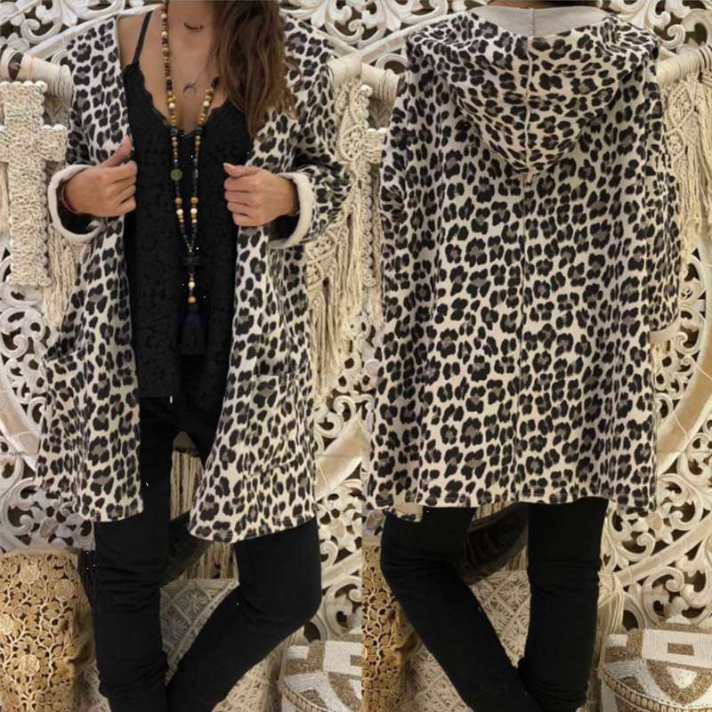 2019 Spring Women Sexy Leopard Thin Hooded Coat Jackets Female Long Sleeve Top Cardigan Ladies Casual Streetwear Party Outerwear