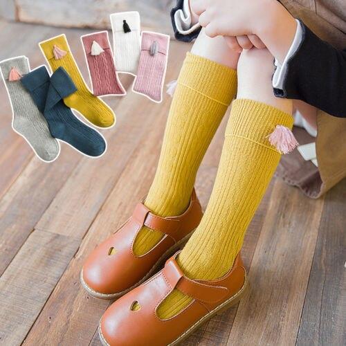 Neue Frühling Herbst Baby Mädchen Baumwolle Knie Hohe Socken Feste Candy Farbe Kinder Kleinkind Kurze Socken Für Kinder Mit Quasten 1-8y