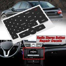 1x preto meios de rádio do carro estéreo botão reparação decalques adesivos reparo carro adesivos corrigir botão feio para mercedes benz rádio v2