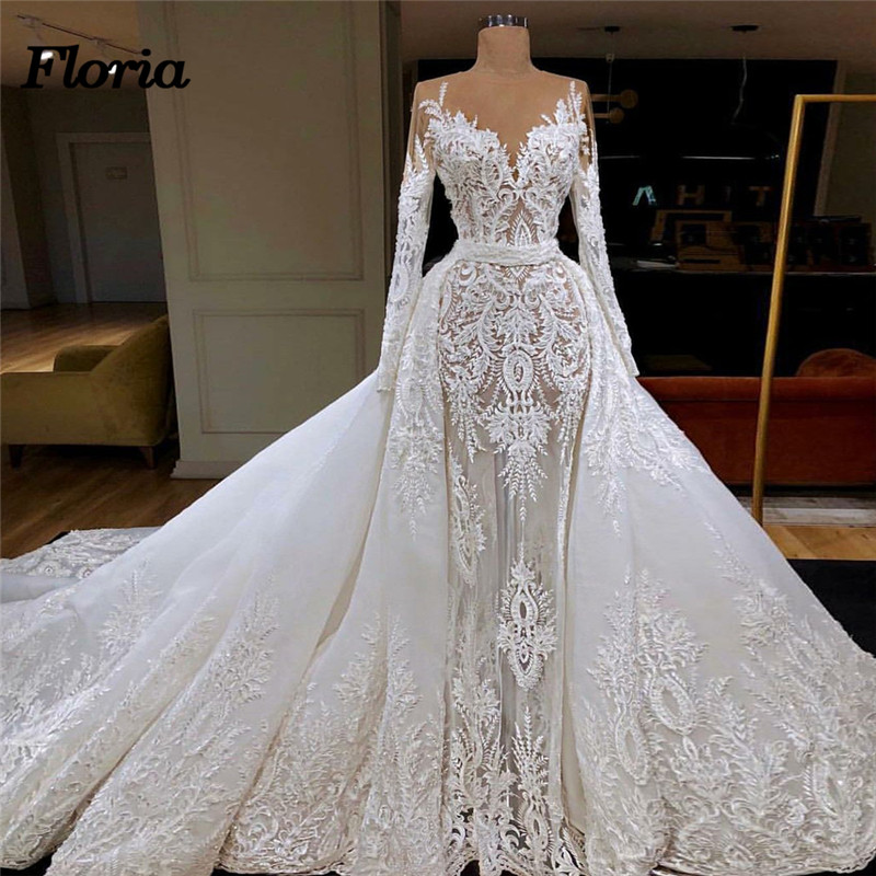 Bridal Gowns With Detachable Trains: Sexy Lace Embroidery Wedding Dresses With Detachable Skirt