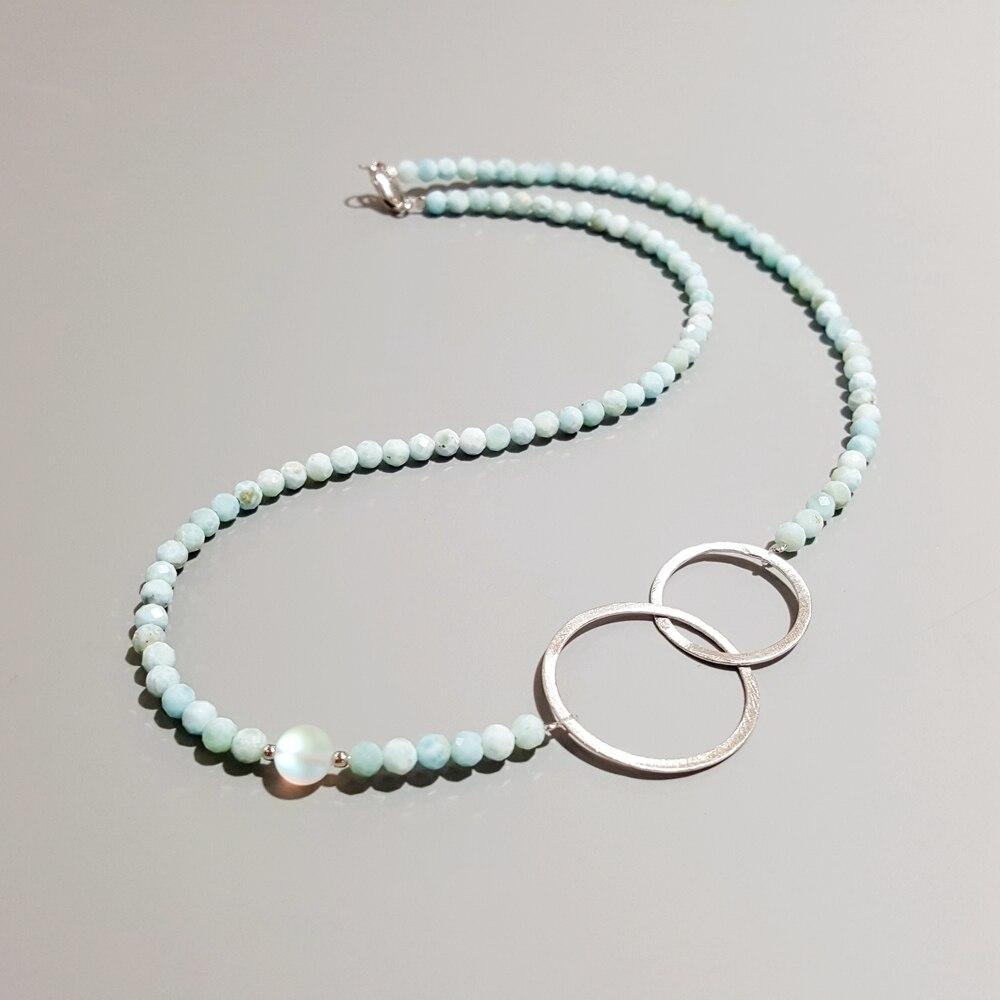 LiiJi Unique Naturel Larimar 925 Sterling Argent Géométrique Double Cercle Collier 45 cm Délicat Bijoux Joli Cadeau pour les Filles