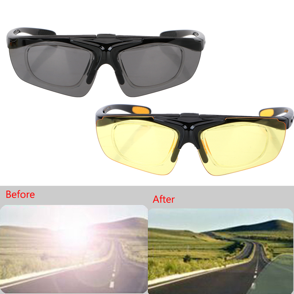 LEEPEE Motocross Bike Sunglasses Anti Glare Night Vision Drivers Goggles UV Protection Flip Cover Car Night-Vision Glasses