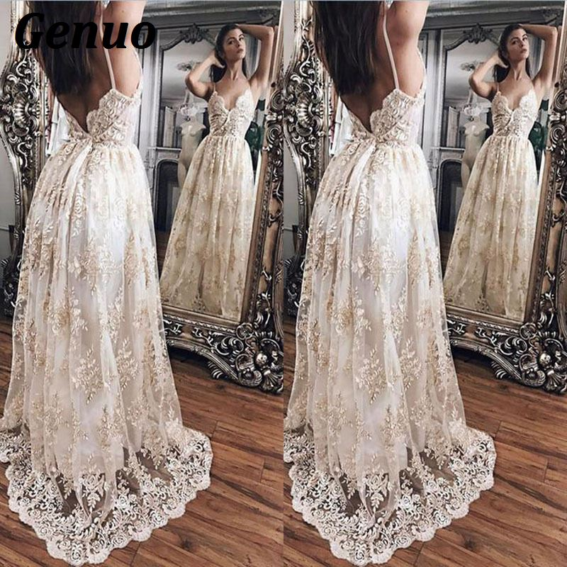 Genuo Sexy Women Floral Embroidery Dress Sheer Mesh Summer BohoA line Maxi Dress See through Long Dress 2018 Vestidos De Festa in Dresses from Women 39 s Clothing