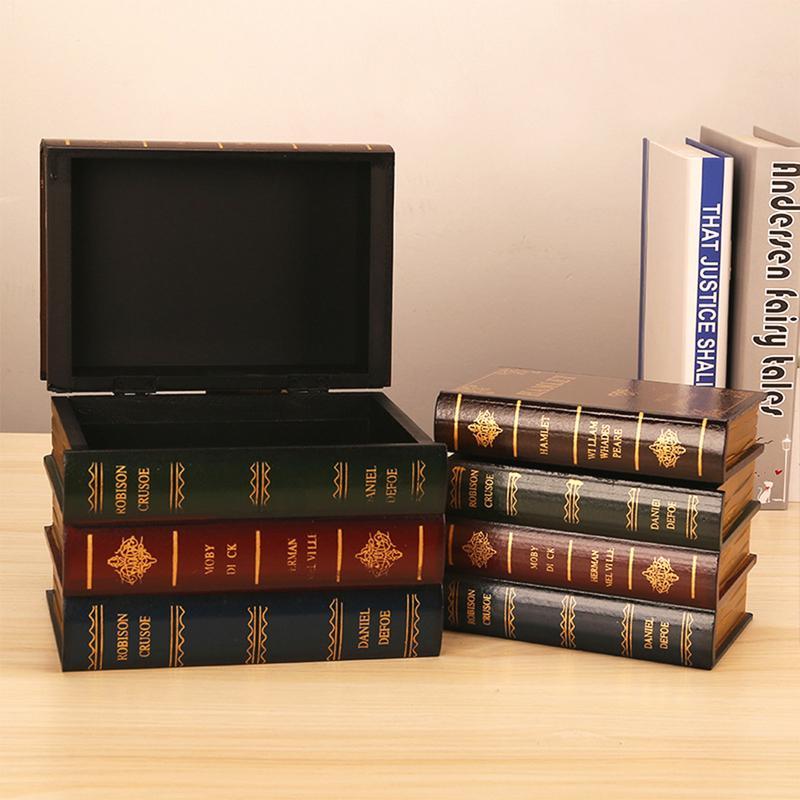 Us 12 72 32 Off Vintage Secret Storage Box Wooden Cosmetic Jewelry Case Decorative Fake Book Retro Organizer Boxes Home Office Books Shelf Decor In