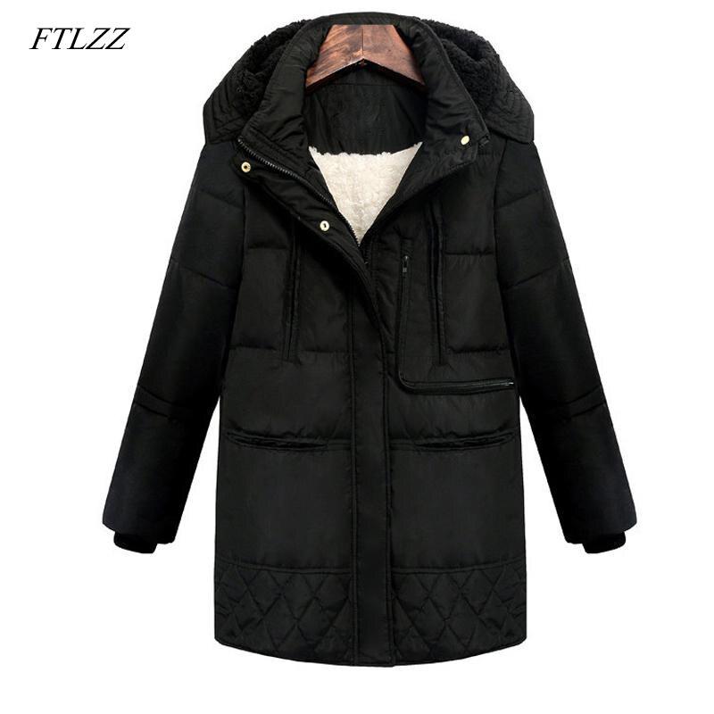 FTLZZ 2019 Winter Women Hooded Coat Thicken Warm Jacket Wool Long Parkas Female Plus Size 3xl