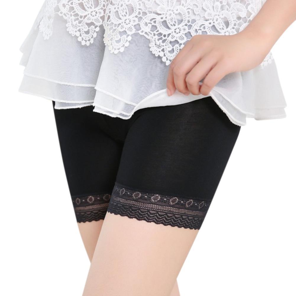 MISSKY Women Comfortable Underpants Hollow Out Lace Hem   Leggings   Pants for Ladies