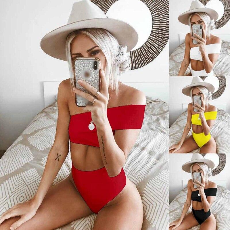 2 Pcs Delle Donne Di Modo Bikini Costumi Da Bagno A Vita Alta Push Up Off Spalla Crop Top Shorts Mutandine E Boxer Solido Costume Da Bagno Costumi Da Bagno Beachwear Buono Per L'Energia E La Milza