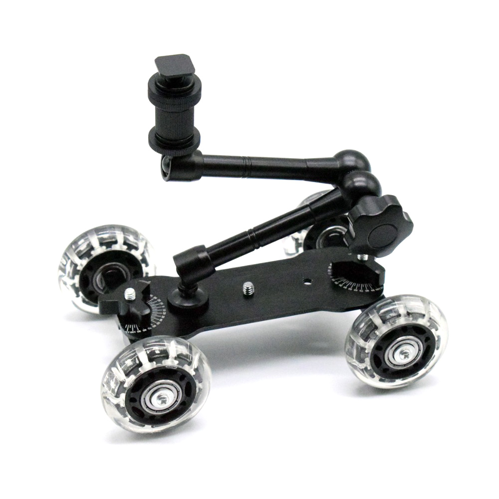 Mobile Rolling Sliding Dolly Stabilizer Skater Slider 11 Inch Articulating Magic Arm Camera Rail Stand Photography Camera