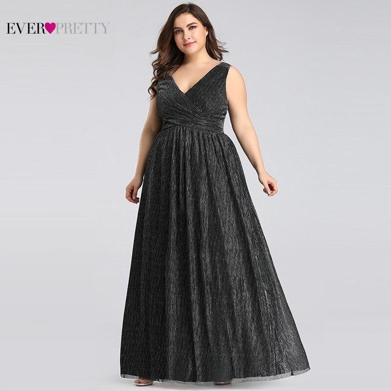 Grande taille robes De soirée élégantes longue jamais jolie EP07791BK a-ligne v-cou sans manches noir robes De soirée formelles Robe De soirée - 3