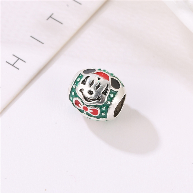 Fashion green beads Alloy ladies jewelry accessories Mickey drop oil beads for jewelry making women accessories wholesale AH042 2