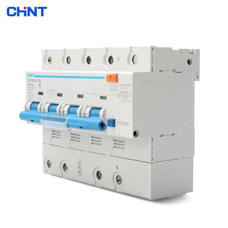 Disjoncteurs de fuite à la maison de puissance élevée de CHNT 400 V DZ158LE 4 P 100A disjoncteur de commutateur d'air de 4 pôles