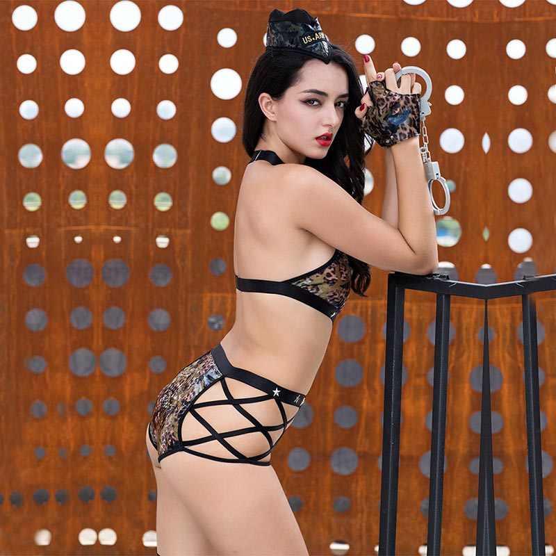 JSY Porno Женская армейская униформа косплей сексуальное облегающее бельё сексуальное эротическое бандажный Купальник Эротическое белье, порно костюмы