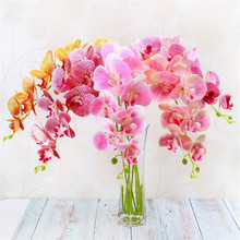 30p PU Butterfly Orchids 3D Printing Effect Real Touch Phalaenopsis Moth Orchid Flower for Wedding Decorative Artificial Flowers