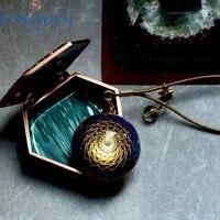BOXIMIYA Astrolabe Custom Handmade Natural Lapis Lazuli Pendant Reiki Orgonite Amulet Pendant Necklace Harajuku Chakra Gift