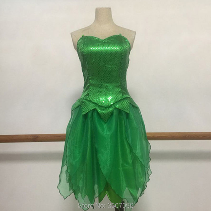 Tinkerbell Costume 2019 New Style Fairy Tale Tinker Bell Princess Dress Halloween Cosplay Party Offshoulder Dress