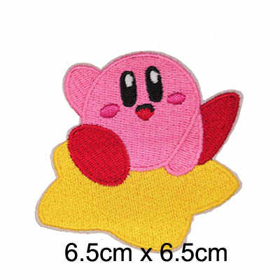 Pink monster Kirby embroidered iron on patch, Adorable game character Kirby kids Jacket clothing fabric DIY accessories