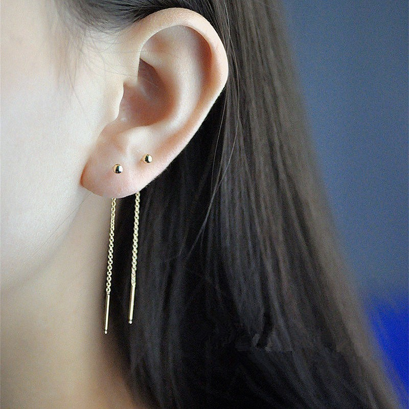 RIR Minimalism Gold Threader Tassel Earrings Stainless Steel Tiny Ball Drop Long Chain Earrings 12mm/9mm/6mm Choose