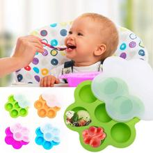 Portability Baby Food Container 7 Grids Silicone Baby Infant Flower Lattice Dinning Plate Kids Feeding Bowl with Cover A3