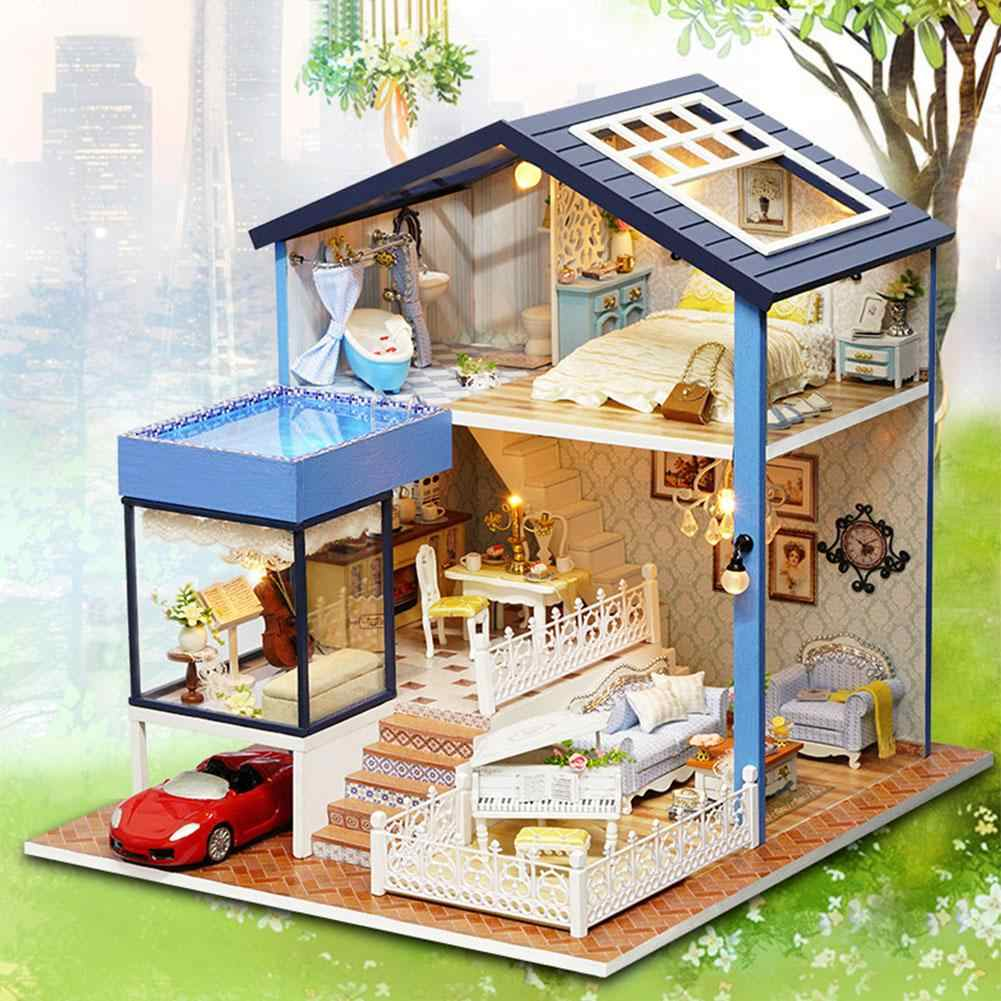 DIY Model Doll House DIY Miniature Handmade Dollhouse Toy With Furnitures LED Light Children 3D Handmade Toys Gifts
