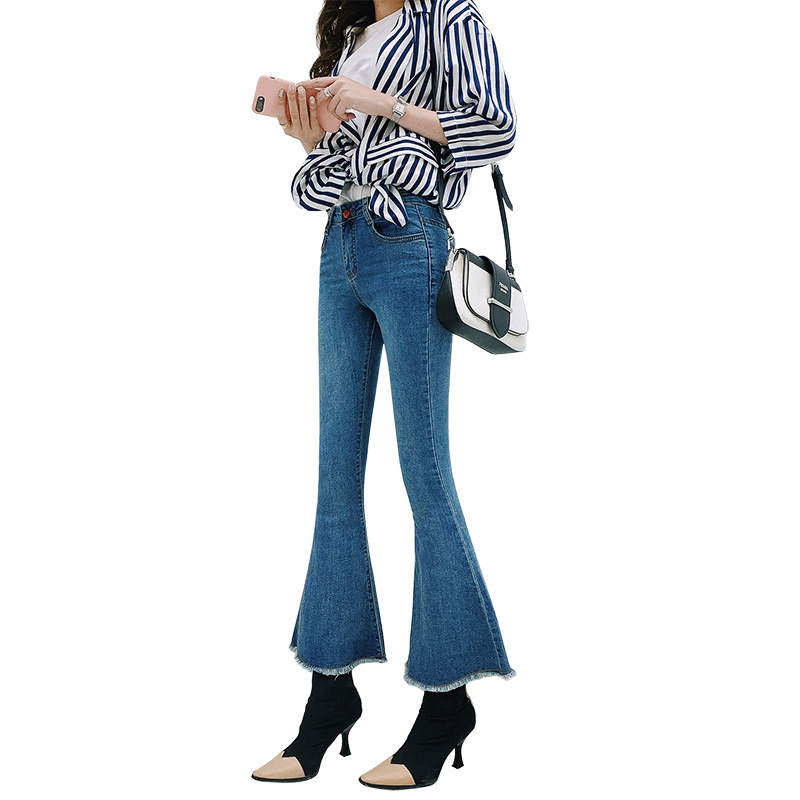 Vintage Plus Size Stretch Flare Jeans For Women High Waisted Jeans Wide Leg Bell Bottom Jeans Woman Slim Curvy Boot Cut Denim image