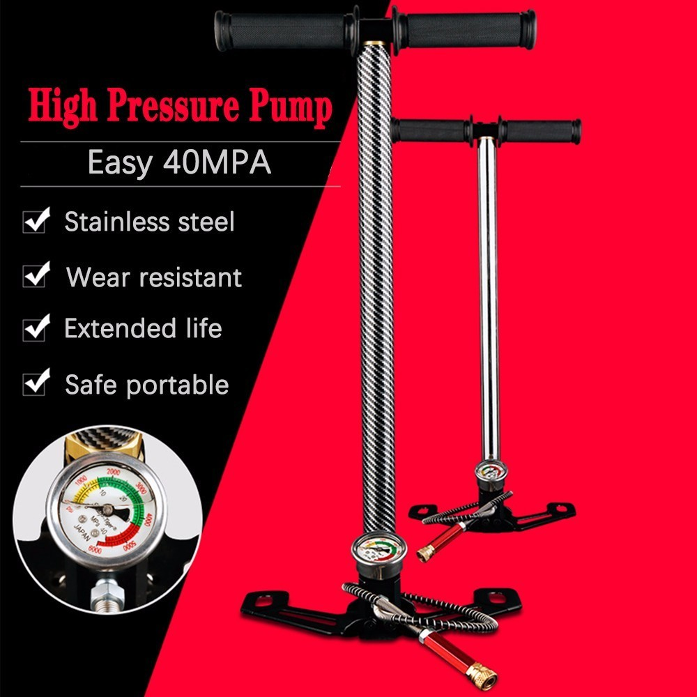 300bar 30mpa 4500psi 3 Stage Pcp High Pressure Compressor Inflator, Hand Operated Pump For Air Pump Gun/car/motorcycle/bicycle
