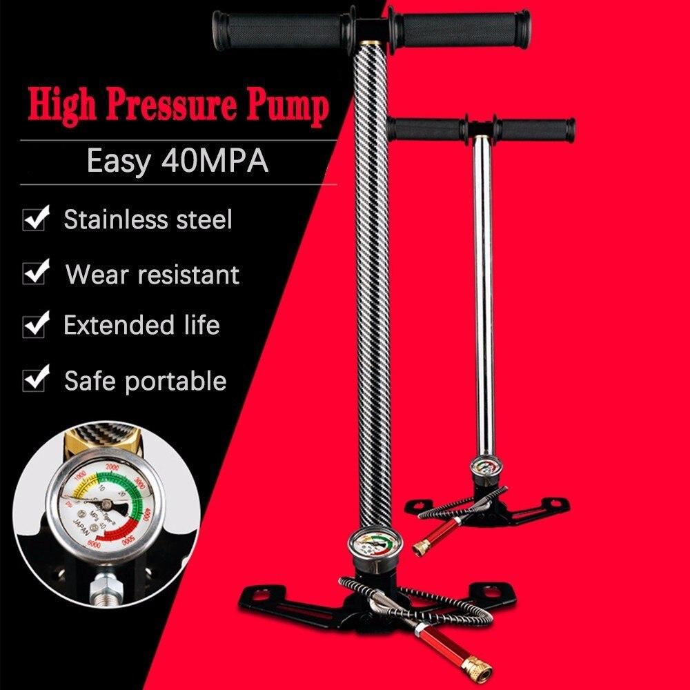 300bar 30mpa 4500psi 3 estágio pcp alta pressão compressor inflator, mão operado bomba para bomba de ar arma/carro/motocicleta/bicicleta