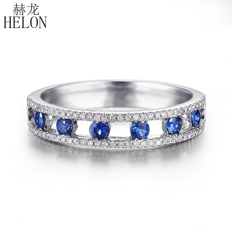 Bague HELON 10 K or blanc 0.4ct véritables saphirs diamants naturels fiançailles mariage Fine bande belle pierre gemme bijoux bague