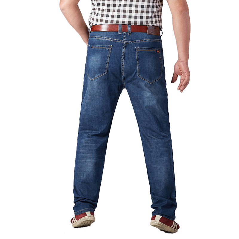 Image 3 - Plus Size Mens Jeans Classic Straight Baggy Male Jeans New Summer Thin Casual Loose Fit Denim Pants King Size Trouser Overalls-in Jeans from Men's Clothing