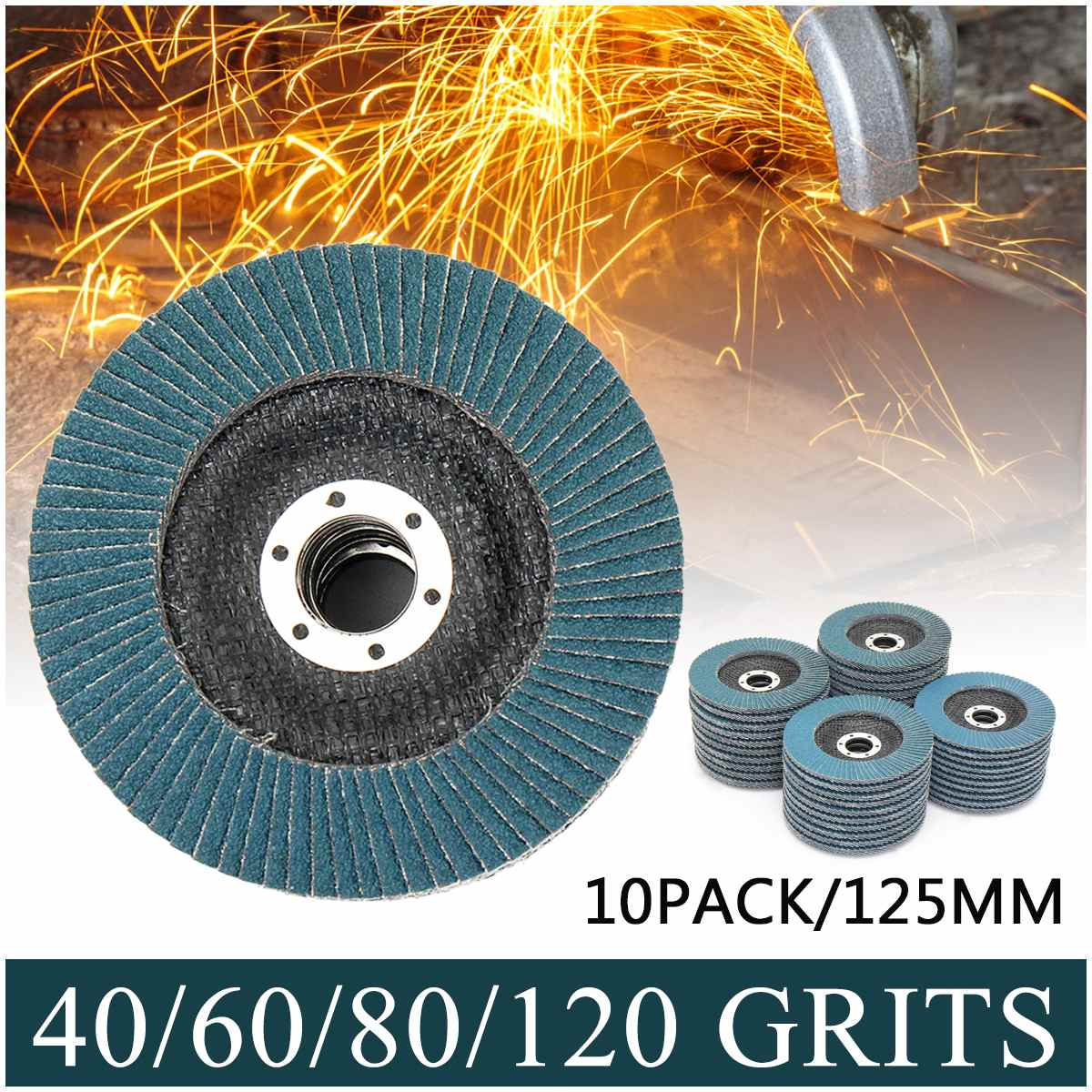 10PCS Professional Flap Discs 125mm 5 Inch Sanding Discs 40/60/80/120 Grit Grinding Wheels Blades For Angle Grinder
