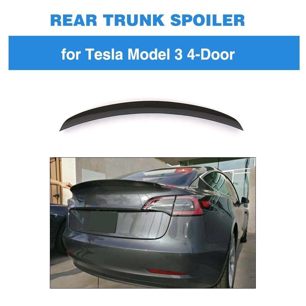 Pour Tesla Modèle 3 Voiture Arrière Tronc Boot Lip Spoiler En Fiber De Carbone 2016 2017 2018