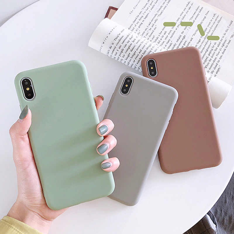 Moskado For iPhone 7 Case Simple Solid Candy Color For iPhone X XR XS Max 6 6s 7 8 Plus Silicone Phone Cases Soft TPU Back Cover