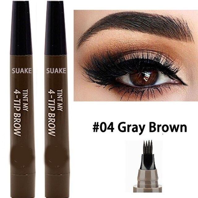 9 Colors 4 Head Henna Eyebrow Marker Pencil Microblading EyeBrow Thin Pen Painless Liquid Eyebrows Shades Makeup Eyebrow Tattoo Pencil Eyebrow Henna 3