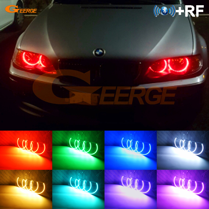 Pour BMW E46 berline 2001-2005 lifting Non projecteur phare RF Bluetooth contrôleur multicolore RGB led angel eyes kit