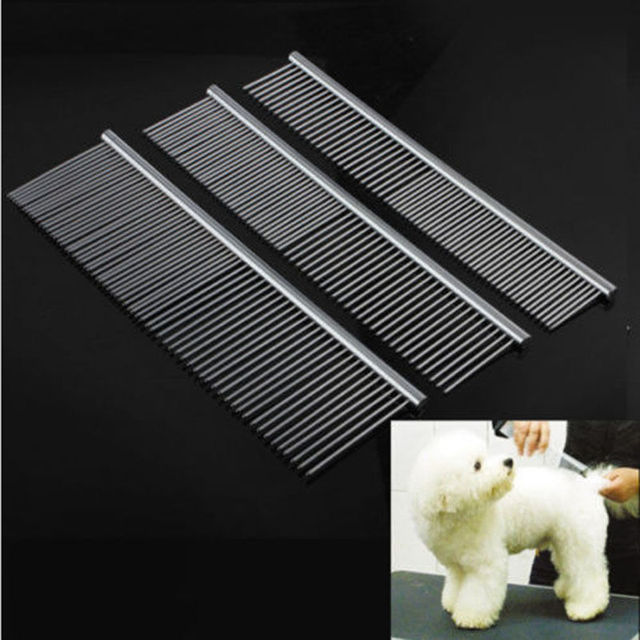 Pro Metal Double Row Teeth Brush Grooming Hair Comb Hair Trim Rake Tool for Pet Dog Cat Hairdressing Combs
