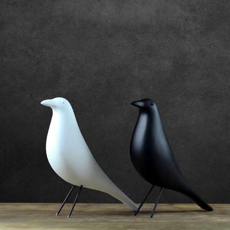 Resin Craft Bird Figurine Statue Office Ornaments Sculpture Home Decoration Accessories Bird Sculpture black