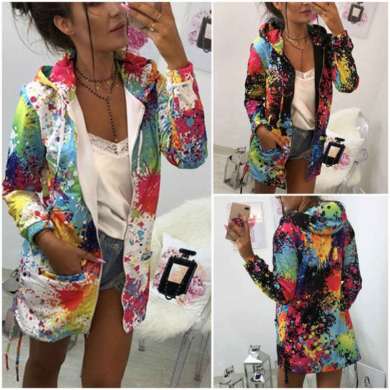 Fashion Brand Newest Women's Long Sleeve Hooded Ink Painting Colorful Windbreaker Parka Coat Outwear Soft Clothes