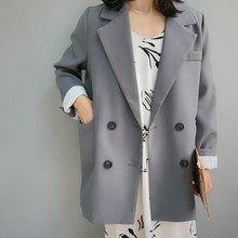 Spring Chic Loose Blazer Women Coat Double Breasted Long Suit Jacket Female Office Casual